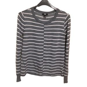 "PAIGE ""Allie"" Striped Long Sleeve Sweater L Grey"